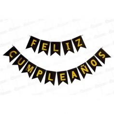 """Guirnalda Banderín """"Feliz Cumpleaños"""" Negro Dorado Cotillón Activarte Guirnaldas y Colgantes"""