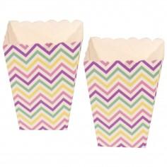 Caja Cabritas (Popcorn) Chevrón Pastel x 10  Líneas Diseño