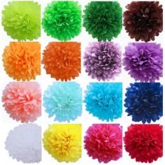 Pompón Papel 35 cms Colores Cotillón Activarte Guirnaldas y Colgantes