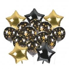 Set 15 Globos Estrella Metálico Impreso Negro Dorado  Globos Diseños