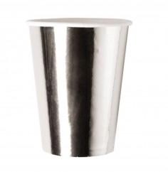 Vaso Polipapel Plateado x 10  Línea Metalizado