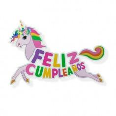 Guirnalda Feliz Cumpleaños Unicornio Grande  Cotillón Unicornio