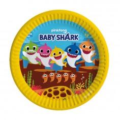 Platos Cumpleaños Baby Shark x 6 Cotillón Activarte Cotillón Baby Shark