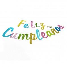 Guirnalda Feliz Cumpleaños Glitter Cursiva MultiColor  Guirnaldas y Colgantes