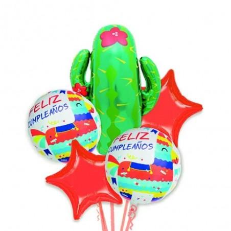 Set Globo Metálico Cactus  Cotillón Llama