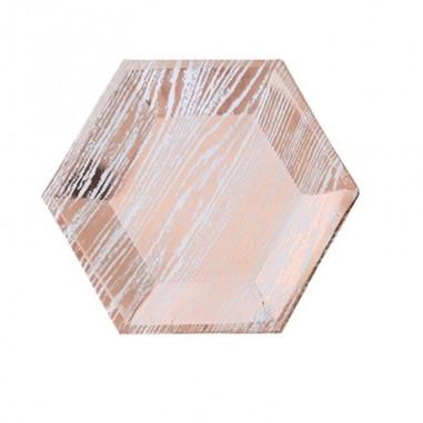 Plato Diseño Rose Gold Rayado x 6  Líneas Diseño