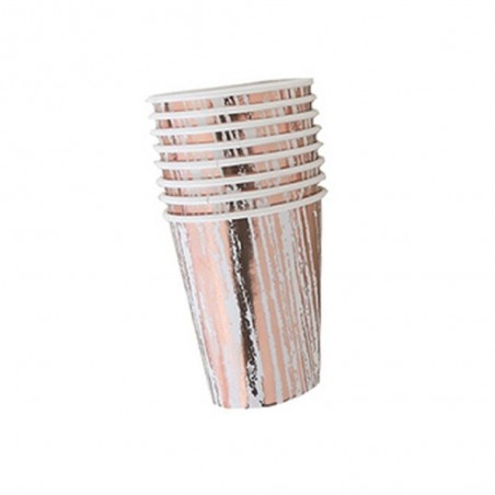 Vaso Diseño Rose Gold Rayado x 6  Líneas Diseño
