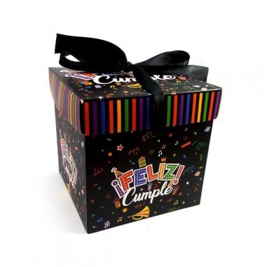 Caja de Regalo Feliz Cumpleaños Plegable Negra  Líneas Cumpleaños