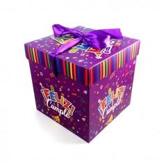 Caja de Regalo Feliz Cumpleaños Plegable Morado  Líneas Cumpleaños