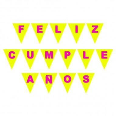 Banderín Feliz Cumpleaños Flúor Colores  Guirnaldas y Colgantes
