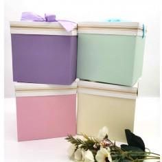 Caja de Regalo Plegable Colores Pastel  Líneas Cumpleaños