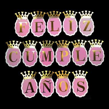 """Guirnalda Banderín """"Feliz Cumpleaños"""" Corona Cotillón Activarte Guirnaldas y Colgantes"""