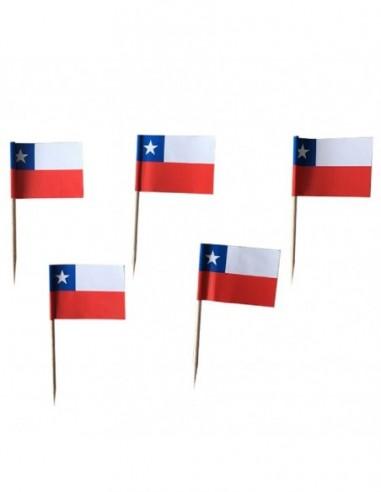 Set Pinchos Bandera Chile x 25  Decoración Chile
