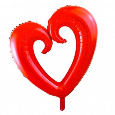 Globo Metálico Corazón Calado Forma  Cotillón Día de los Enamorados