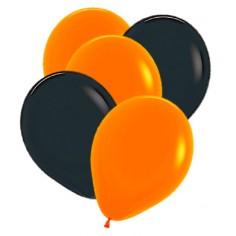 Globos Naranjo y Negro Halloween x 25  Cotillón y Disfraces Halloween