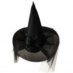Gorro Bruja Negro Velo y Plumas  Gorros de Cotillón