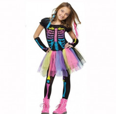 Disfraz Niñita Esqueleto Flúor Halloween  Disfraz Niñas y Niños Halloween
