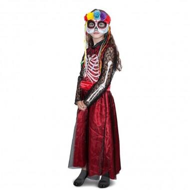 Disfraz Catrina Niña Largo Halloween  Disfraces Niñas y Niños