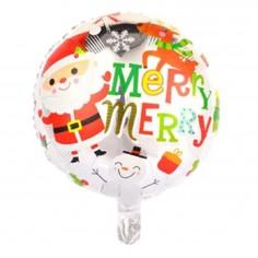 Globo Metálico Redondo Navidad Pascuero  Decoración y Cotillón Navidad