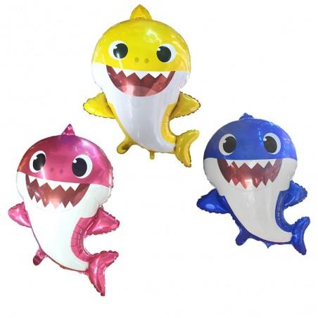 Set 3 Globos Metálico Baby Shark  Cotillón Baby Shark