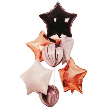 Set Globos Estrella Negra Blanca Rose Gold Ágata  Cotillón Día de los Enamorados