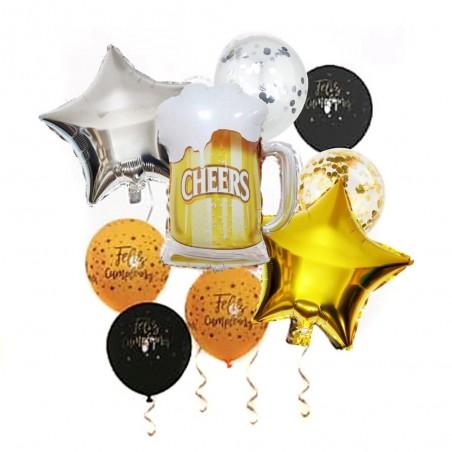 Set Globos Cerveza Feliz Cumpleaños  Globos Metálicos