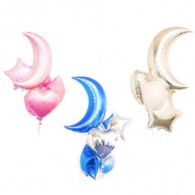 Set Globos Estrella Luna  Cotillón Día de los Enamorados