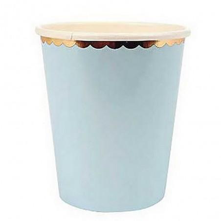 Vasos Pastel Bordes Dorados 18 cm  Línea Metalizado